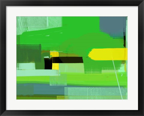 Framed Green and Brown Abstract 6 Print