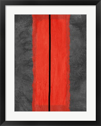 Framed Grey and Red Abstract 5 Print