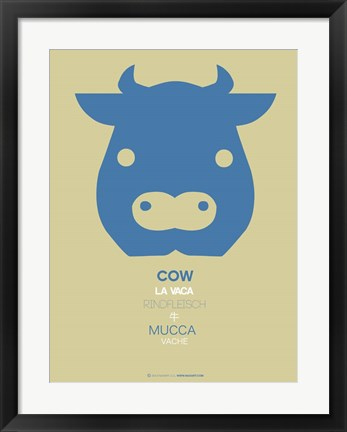 Framed Blue Cow Multilingual Print