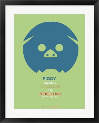 Framed Blue Piggy Multilingual Print