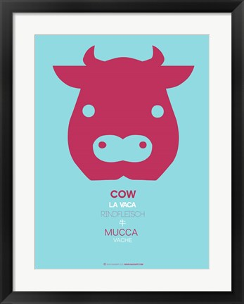 Framed Red Cow Multilingual Print