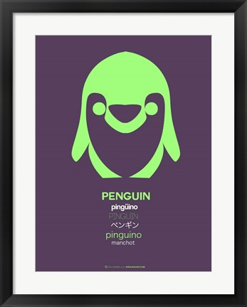 Framed Green Penguin Multilingual Print