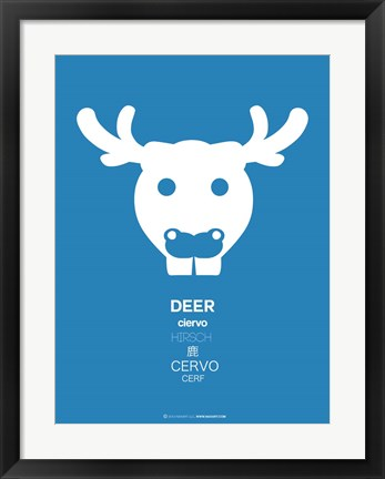 Framed Blue Moose Multilingual Print