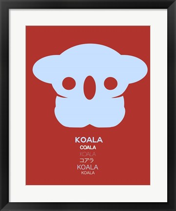 Framed Purple Koala Multilingual Print