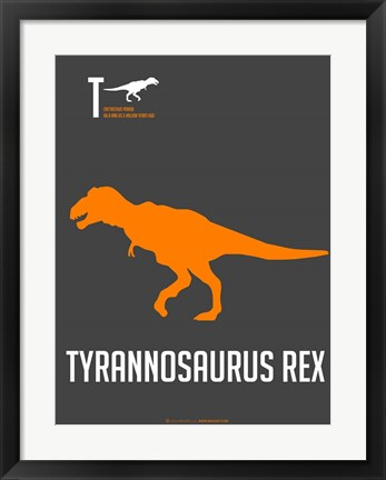 Framed Yellow on Grey Dinosaur Print