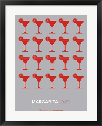 Framed Red Margaritas Grey Print