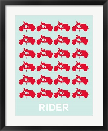 Framed Vespa Rider Red Print