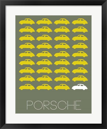 Framed Porsche Yellow Print