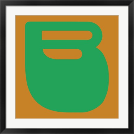 Framed Letter B Green Print
