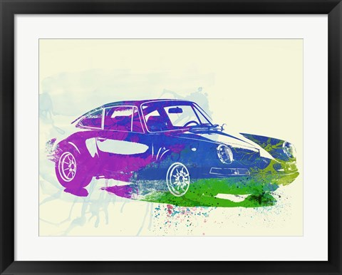Framed Porsche 911 Watercolor Print