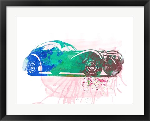 Framed Bugatti Atlantic Watercolor 1 Print