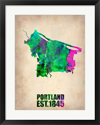 Framed Portland Watercolor Map Print