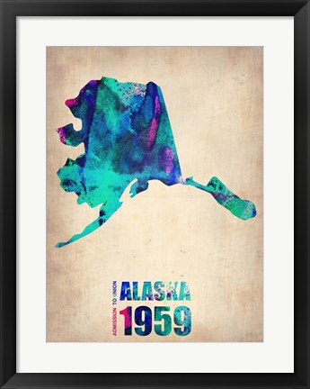 Framed Alaska Watercolor Map Print