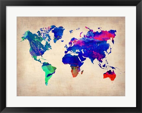 Framed World Watercolor Map 2 Print