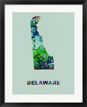 Framed Delaware Color Splatter Map Print