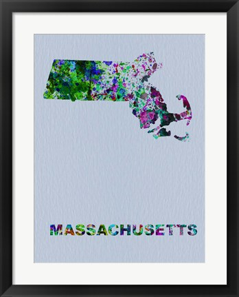 Framed Massachusetts Color Splatter Map Print