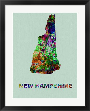 Framed New Hampshire Color Splatter Map Print