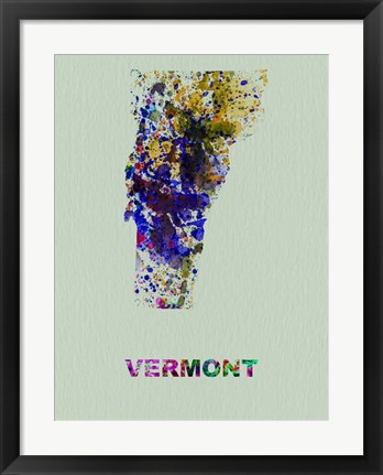 Framed Vermont Color Splatter Map Print