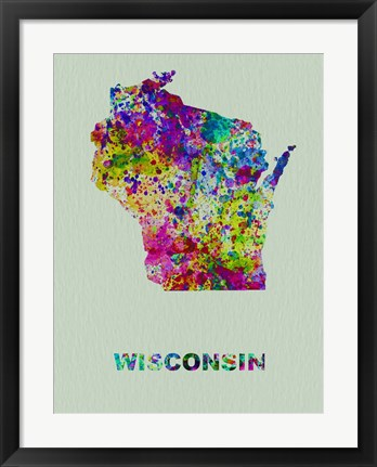 Framed Wisconsin Color Splatter Map Print