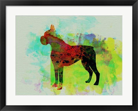 Framed Boxer Watercolor Print