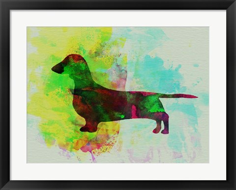 Framed Dachshund Watercolor Print