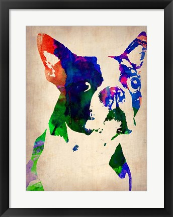Framed Boston Terrier Watercolor Print