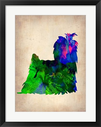 Framed Yorkshire Terrier Watercolor Print