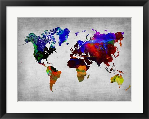 Framed World Watercolor Map 12 Print