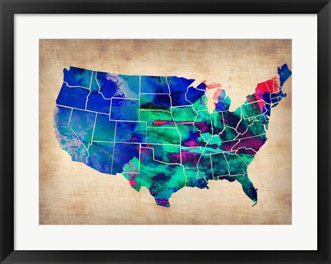 Framed USA Watercolor Map 3 Print