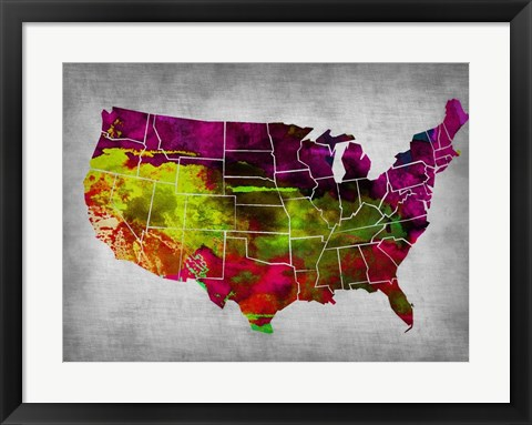 Framed USA Watercolor Map 4 Print