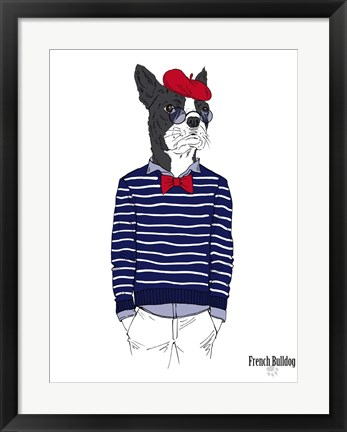 Framed French Bulldog In French Style Print