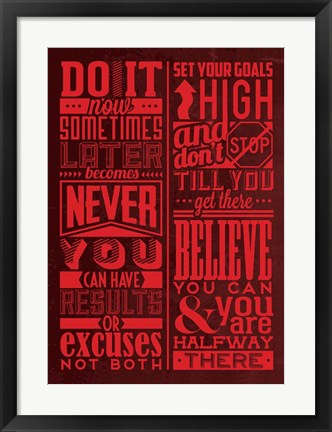Framed Motivation Set Red Print