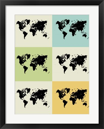 Framed World Map Grid Print