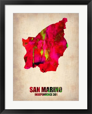 Framed San Marino Watercolor Print