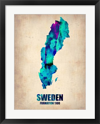 Framed Sweden Watercolor Print