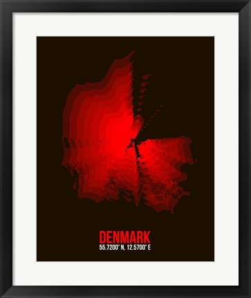 Framed Denmark Radiant Map 3 Print