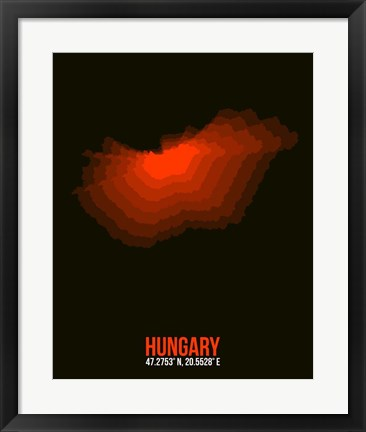 Framed Hungary Radiant Map 1 Print
