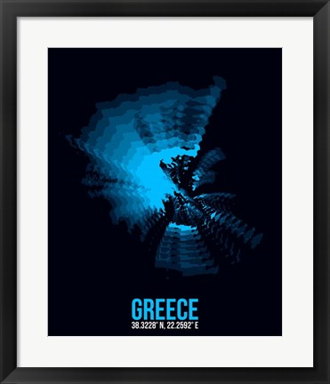Framed Greece Radiant Map 3 Print