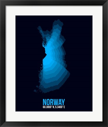 Framed Norway Radiant Map 2 Print