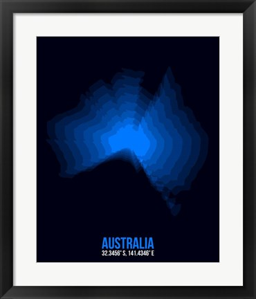 Framed Australia Radiant Map 2 Print