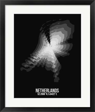 Framed Netherlands Radiant Map 4 Print