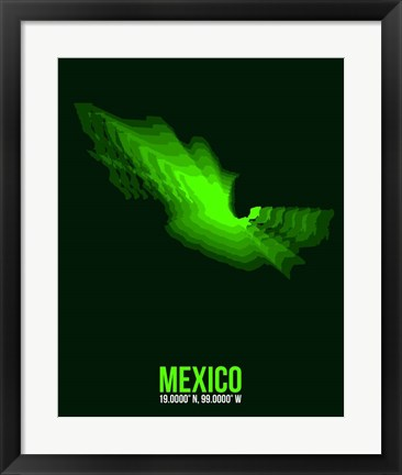 Framed Mexico Radiant Map 2 Print