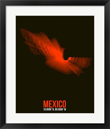 Framed Mexico Radiant Map 3 Print