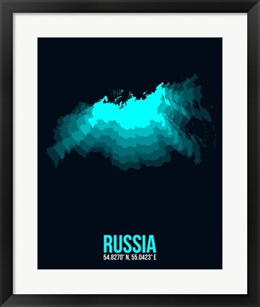 Framed Russia Radiant Map 2 Print