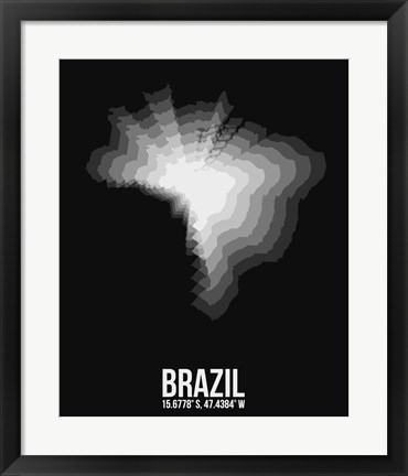 Framed Brazil Radiant Map 4 Print