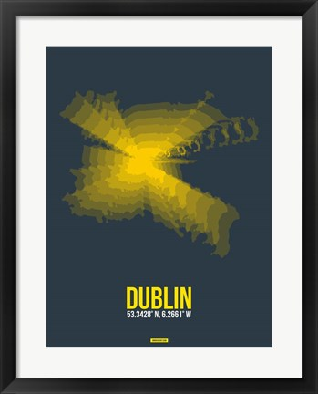 Framed Dublin Radiant Map 4 Print