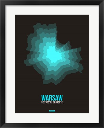 Framed Warsaw Radiant Map 3 Print