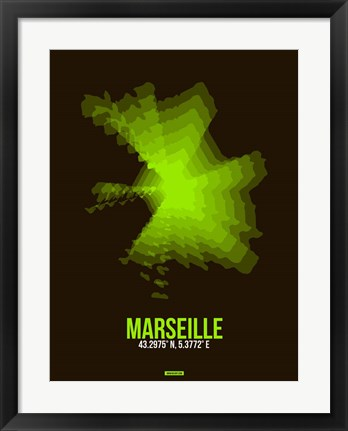 Framed Marseille Radiant Map 1 Print