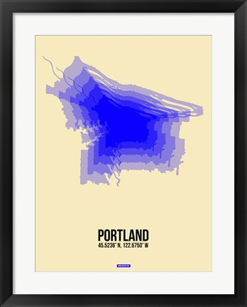 Framed Portland Radiant Map 2 Print