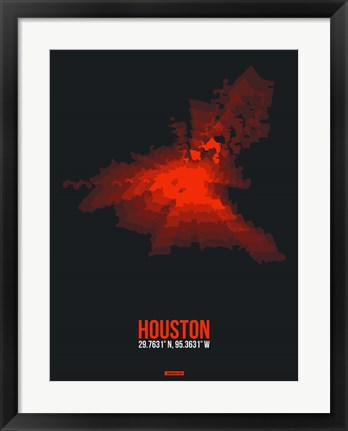 Framed Houston Radiant Map 2 Print